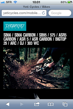 yeticycles_mobile site_screen1