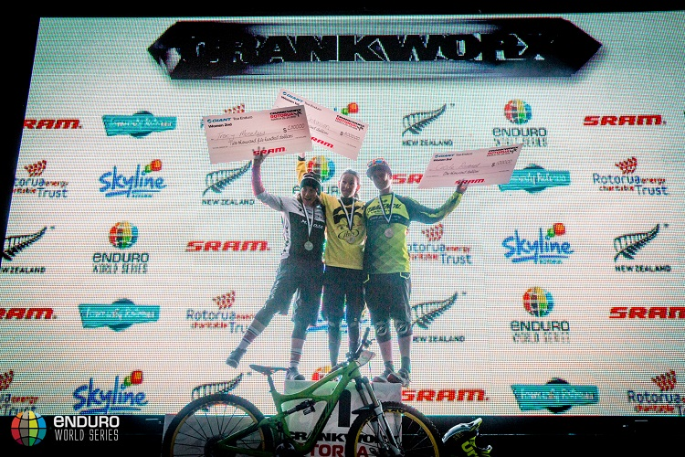 The womens podium. EWS 1 2015, Rotorua, New Zealand. Photo by Matt Wragg.